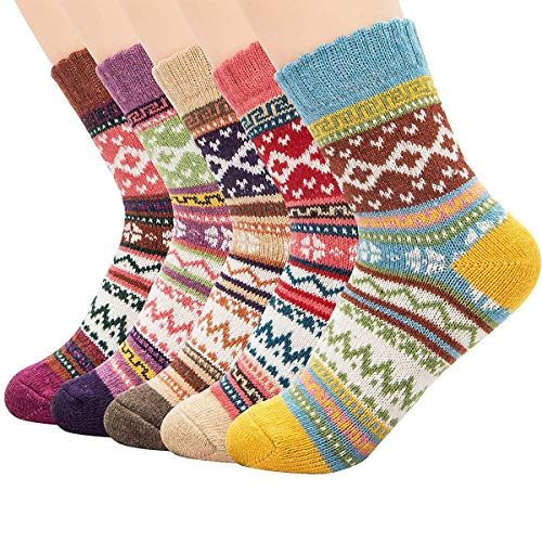 ~Christmas Gift~Durio Womens 5 Pack Soft Warm Thick Casual Winter Wool Socks Knitted Cabin Crew Socks for Women