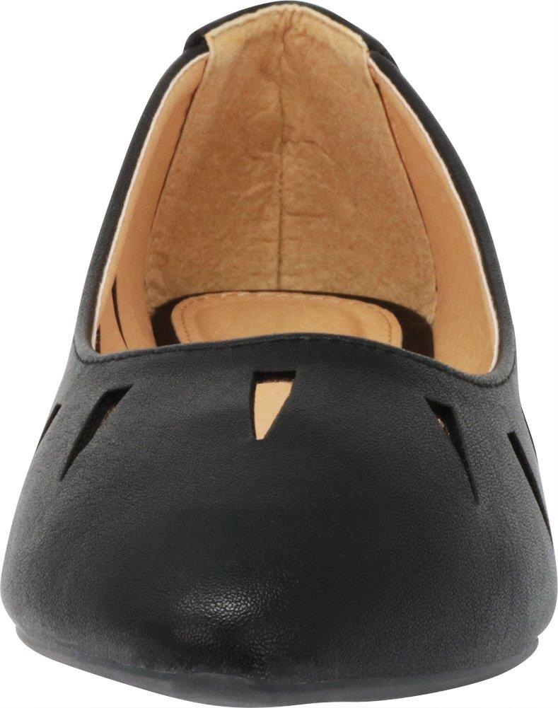 Cambridge Select Women's Closed Pointed Toe Slip-On Geometric Cutout Ballet Flat B07D9RTPC4 6.5 B(M) US|Black Pu
