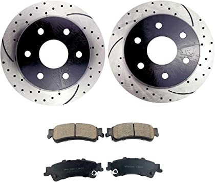 Front Rear Brake Discs Rotors /& Ceramic Pads For 1999 2000-2005 GMC Sierra 1500