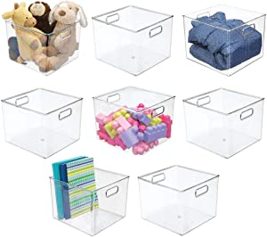 "mDesign Plastic Home Storage Organizer Bin for Cube Furniture Shelving in Office, Entryway, Closet, Cabinet, Bedroom, Laundry Room, Nursery, Kids Toy Room - 10"" x 10"" x 8"" - 8 Pack - Clear"