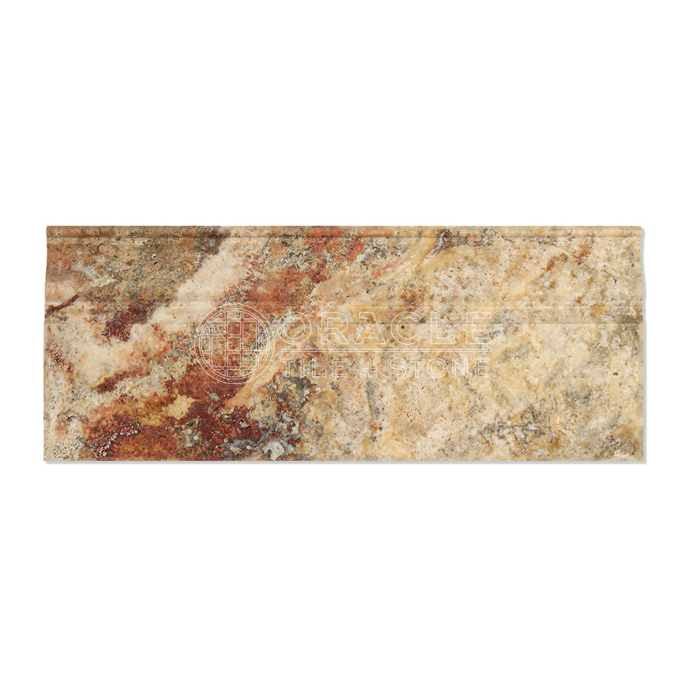 Scabos Travertine Baseboard Trim Molding Honed