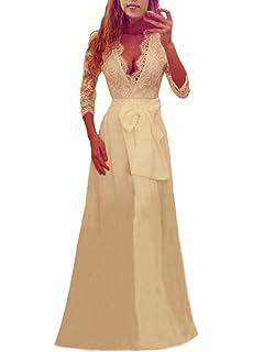 07bfd5b701a2fe Donna Vestiti Lunghi Da Sera In Pizzo Eleganti Abito Impero Da Sposa Con  Spacco Manica 3