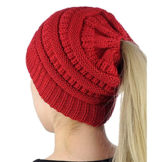 AP WorldWide Ponytail Beanie Women   Kids Cute Cuffed Knit Hat for Messy  Bun   Ponytails at Amazon Women s Clothing store  d47f8236ea9