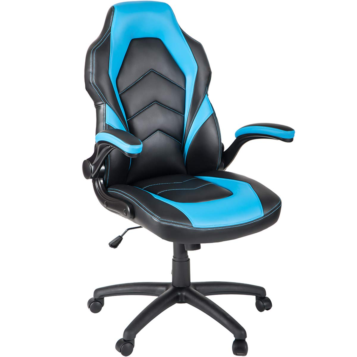 Modern Luxe Ergonomic Office Chair Swivel Chair High Back Racing Style PU Leather Gaming Chair with Flipped Armrests (Blue) by Modern Luxe