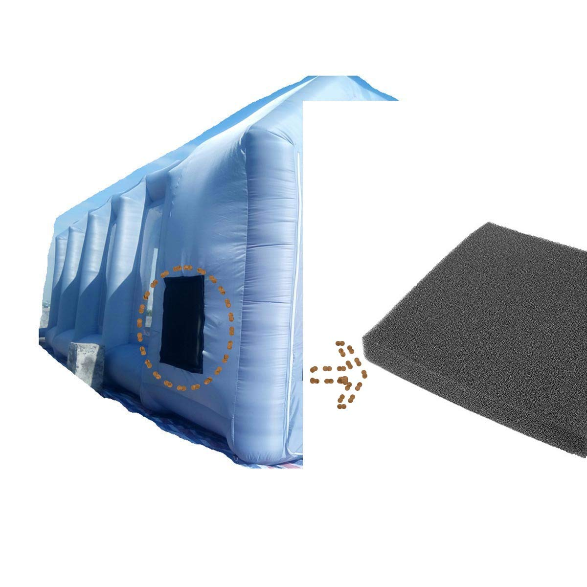 Inflatable Spray Booth with Filter System Portable Car Paint Booth for Car Parking Tent Workstation (Blue, 65655CM)
