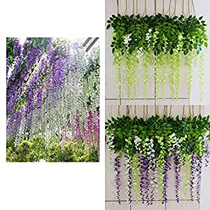 Mcupper-Pack of 12 Artificial Wisteria Vine Ratta Hanging Garland 3.6 Feet Fake Silk Flowers String for Home Party Wedding Décor (Green) 5