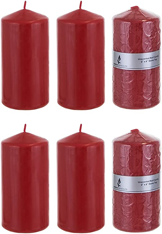 """Red Mega Candles Set of 6 Unscented 3/"""" x 6/"""" Round Pillar Candle"""