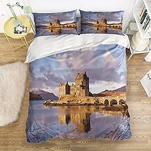 Scenic castle Print Home Comforter Bedding Sets Duvet Cover Sets Bedspread ,Flat Sheet, Shams Set 4Pieces,(Queen)for Adult Kids girls