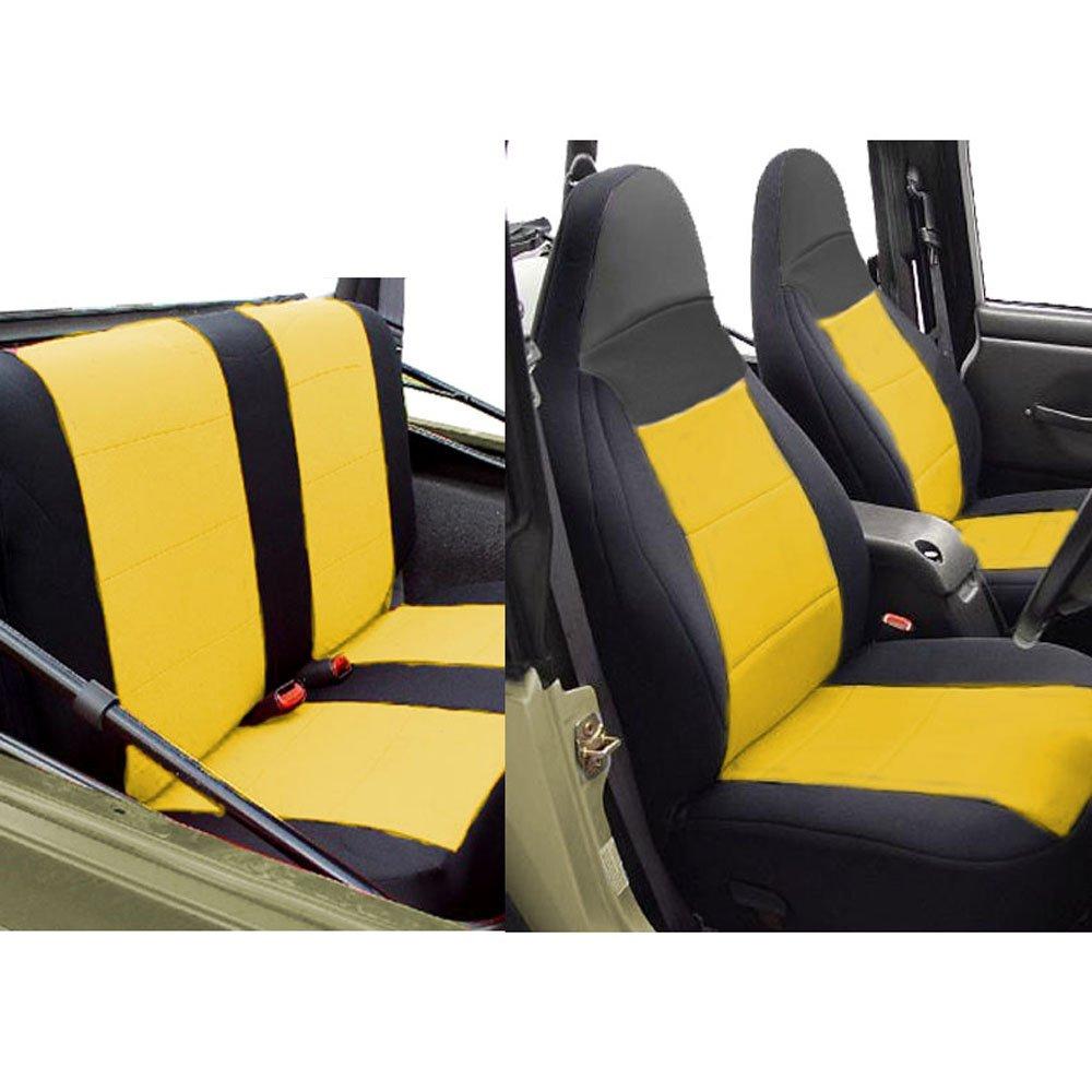 GEARFLAG Neoprene Seat Cover Custom fits Jeep Wrangler TJ 1997-02 Full Set (Front + Rear Set) (Yellow/Black) by GEARFLAG