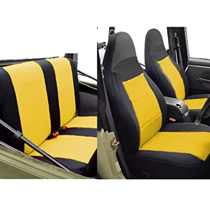Amazing Gearflag Jeep Wrangler Tj Neoprene Seat Cover Full Set Custom Fit 1997 02 Front Rear Set Yellow Black Dailytribune Chair Design For Home Dailytribuneorg