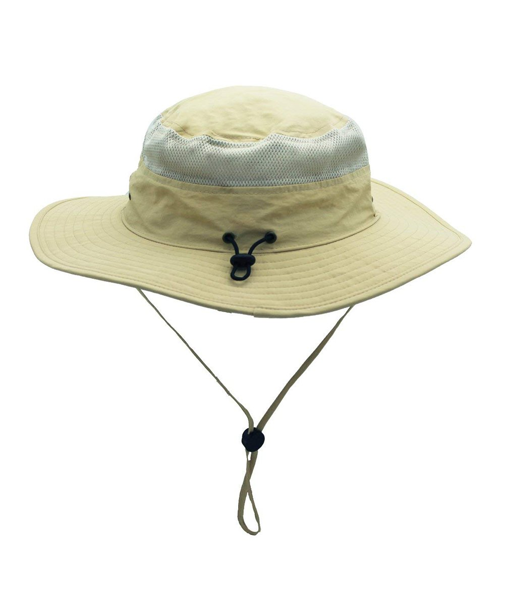 d65bf1a7836 HAINE Windproof Fishing Hats UPF50+ UV Protection Sun Cap Outdoor Bucket  Mesh Hat 56-61cm