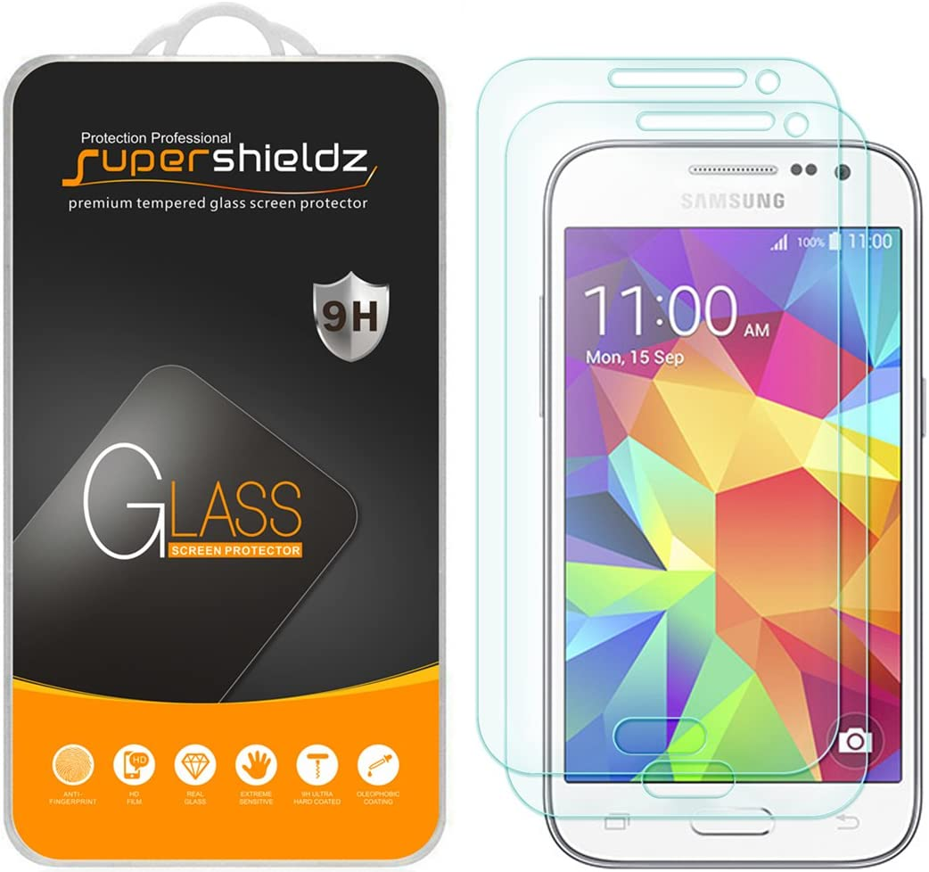 Supershieldz (2 Pack) for Samsung Galaxy Core Prime Tempered Glass Screen Protector Anti Scratch, Bubble Free