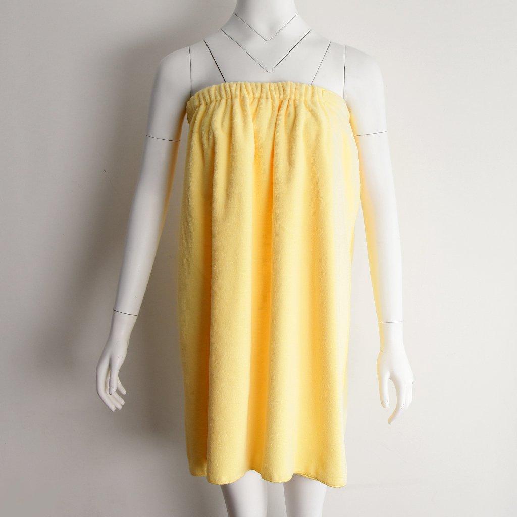 Homyl Shower Spa Body Wrap/Bath Towel/Skirt Womens Bathrobe With Adjutable Sticker -Washable - Yellow