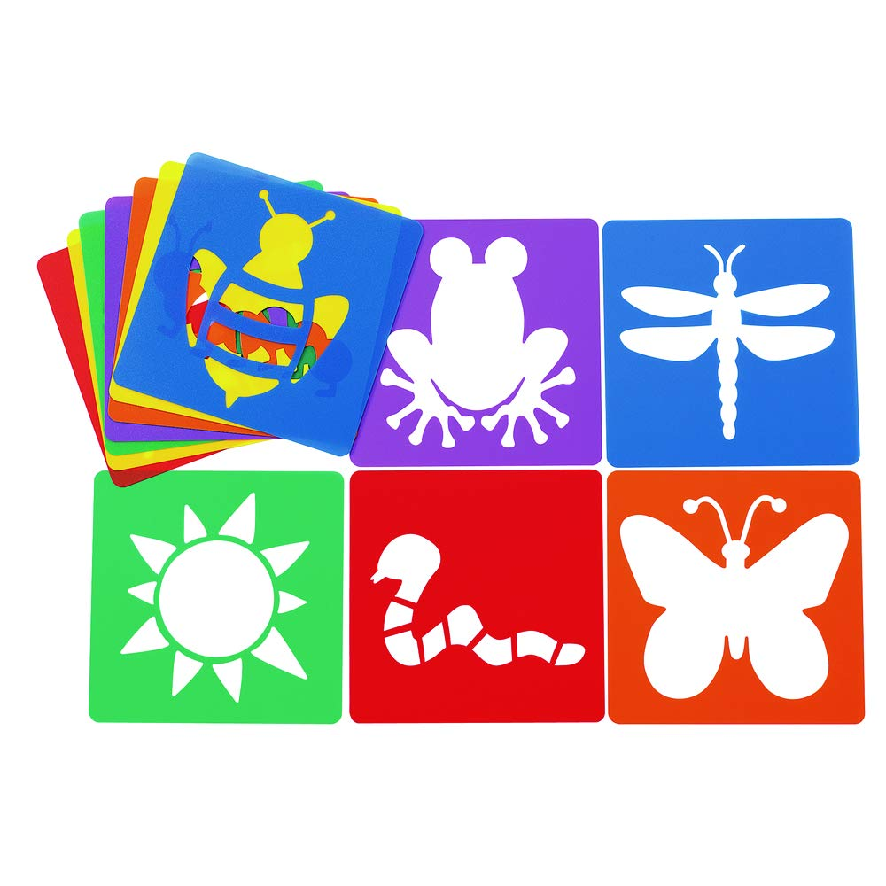 Colorations Garden Shapes Stencils for Kids, 8 inches, Jumbo, Sturdy, Quality, Washable, Paint, Draw, Spray, Classroom, Arts & Crafts, Teacher, Educational by Colorations