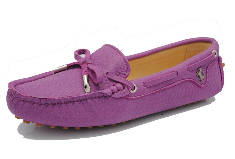Minitoo Girls da donna in pelle nabuk slip-on casual barca scarpe ballerine mocassini Purple