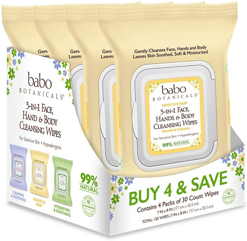 Babo Botanicals Sensitive Baby 3-in-1 Face, Hand & Body Wipes with Oatmilk & Organic Calendula, Hypoallergenic, Vegan - 120 ct.