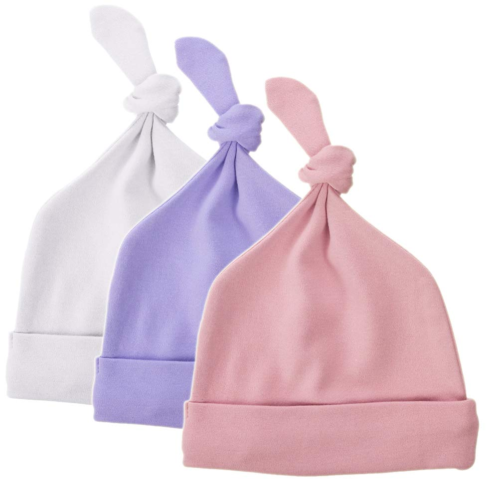 Exemaba Newborn Hat Top Knot Boy Girl - Infant Soft Beanie Hat Cotton Stretchy Baby Hospital Cap (3-Pack) YFM-0020-Boys