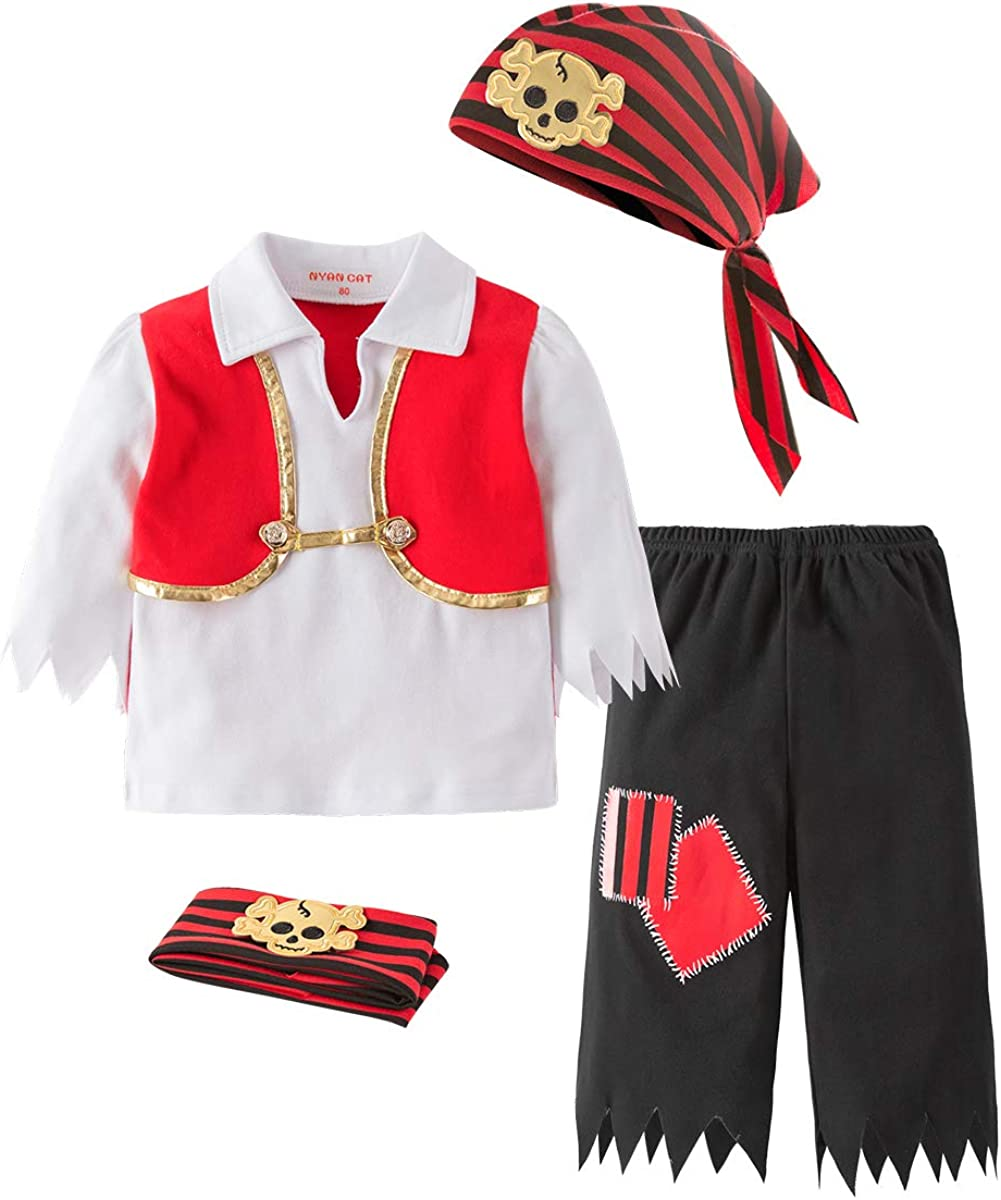 Mays Baby Boys Captain Infant Costumes Cap Stinker Pirate Costume 4pcs Set