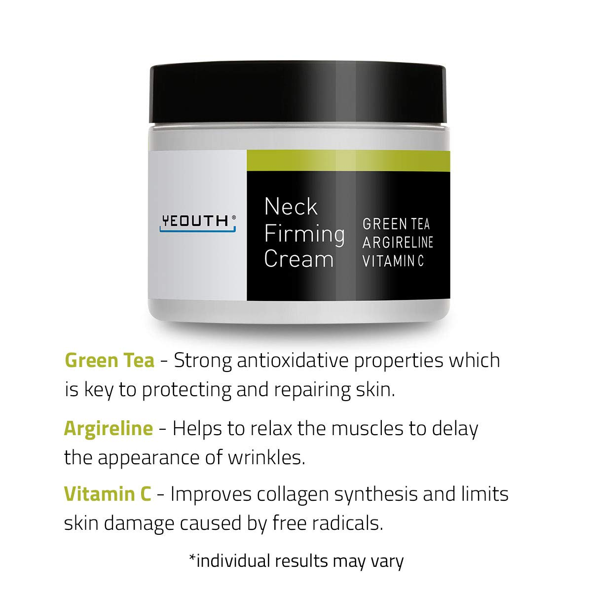 YEOUTH Neck Cream for Firming, Anti Aging Wrinkle Cream Moisturizer, Skin Tightening, Helps Double Chin, Turkey Neck Tightener, Repair Crepe Skin with Green Tea, Argireline, Vitamin C - 2oz (2oz): Beauty