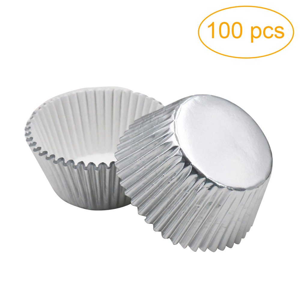 Rosenice Cupcake Liners Aluminum Foil Cups Mini Cake Muffin Molds For Baking Silver 100 Pieces
