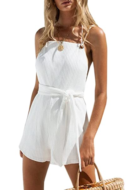cheaper how to orders look for Amazon.com: Women's Sexy Criss Cross Backless Beach Romper ...