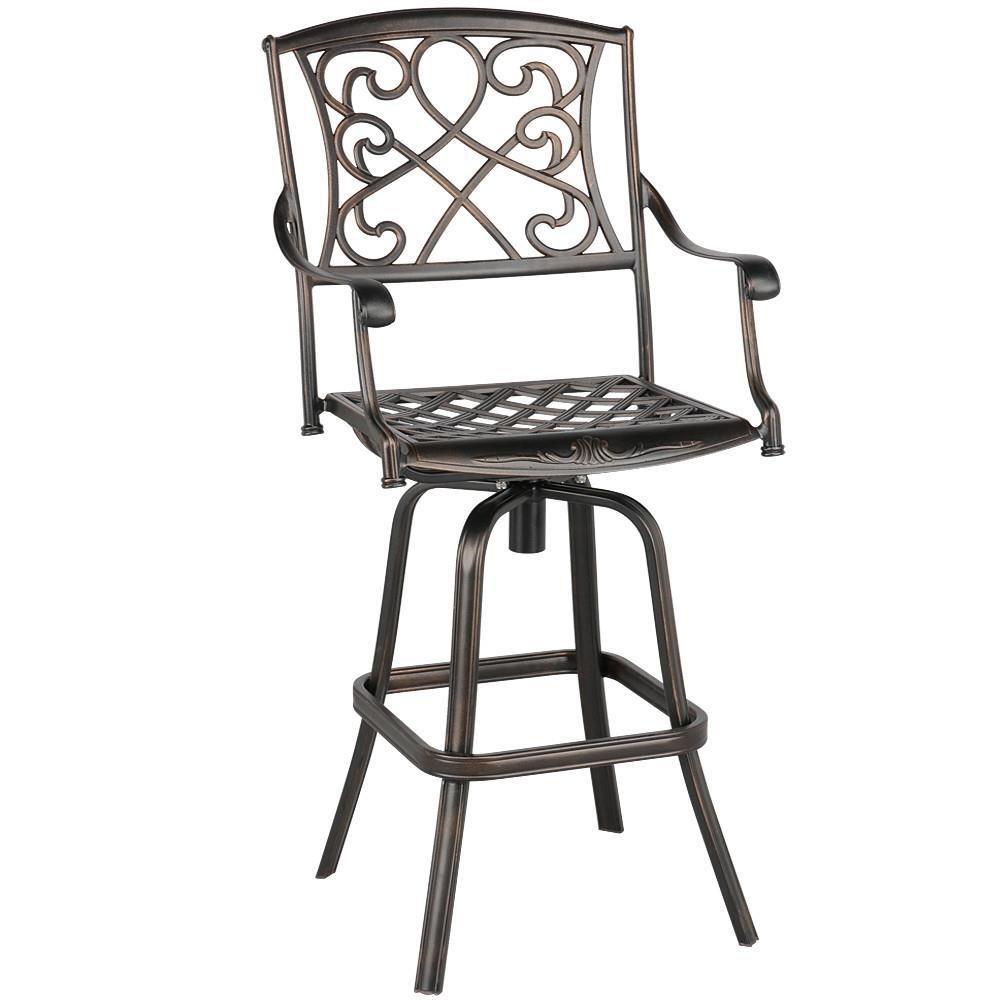 Amazon com yaheetech outdoor cast aluminum patio chair 360 degree swivel bar stool patio furniture antique copper design garden outdoor