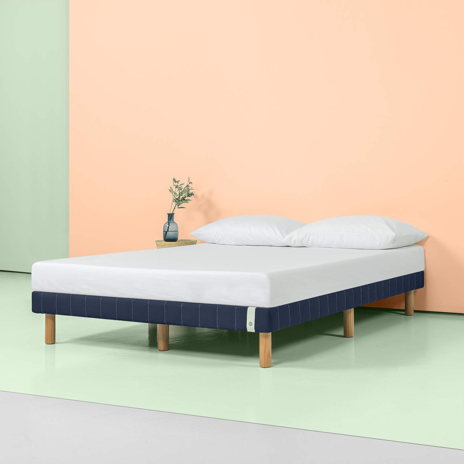 Zinus 11 Inch Quick Snap Standing Mattress Foundation/Low profile Platform Bed/No Box Spring needed, Navy, Cal King