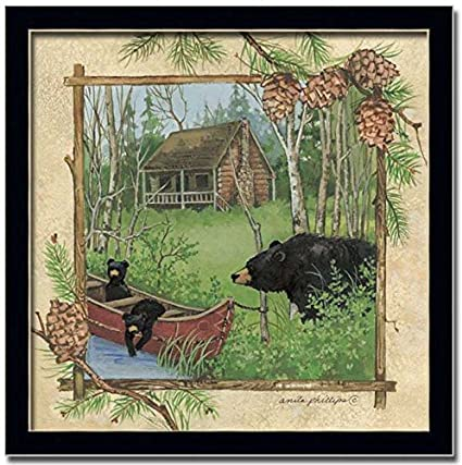 Amazon.com: Black Bear Baby Nature Log Cabin Decor Framed Art Print ...