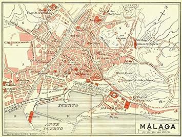 Malaga Karte Spanien.Antiqua Print Gallery Spanien Malaga 1929 Karte Amazon De