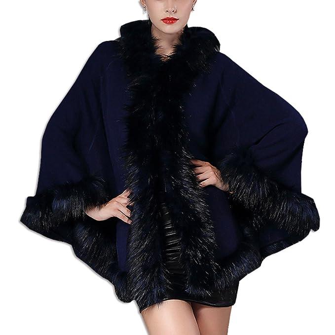 KAXIDY Abrigos de Moda Mujer Piel Imitación Capas Abrigos Invierno Chaquetas Ponchos Capas (Azul Profundo