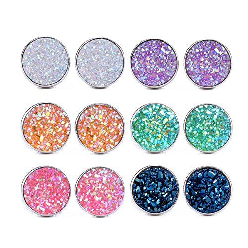 (ATIMIGO Stainless Steel Druzy Stud Earrings Set for Girls Women Hypoallergenic Pierced Earrings (6 pairs))