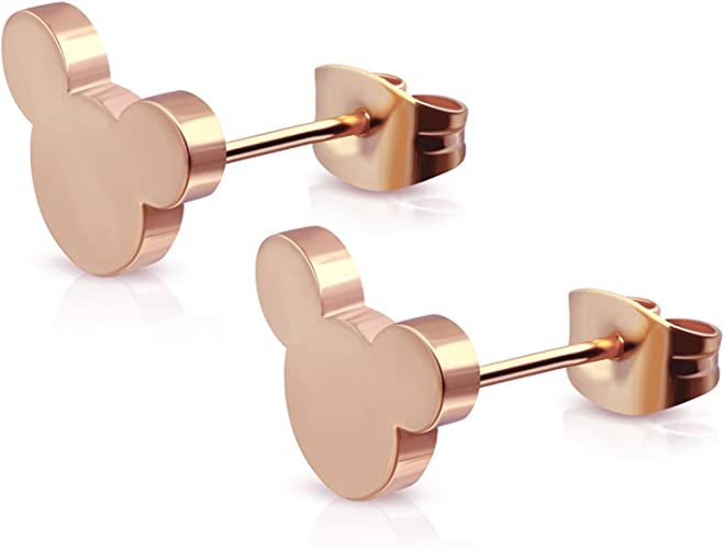 Rose Gold Plated Stainless Steel Tiny Mouse Silhouette Button Stud Post Earrings