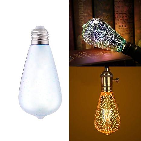 Bombilla LED con efecto de leña 3D, E27, 4 W, 7 colores cambiantes