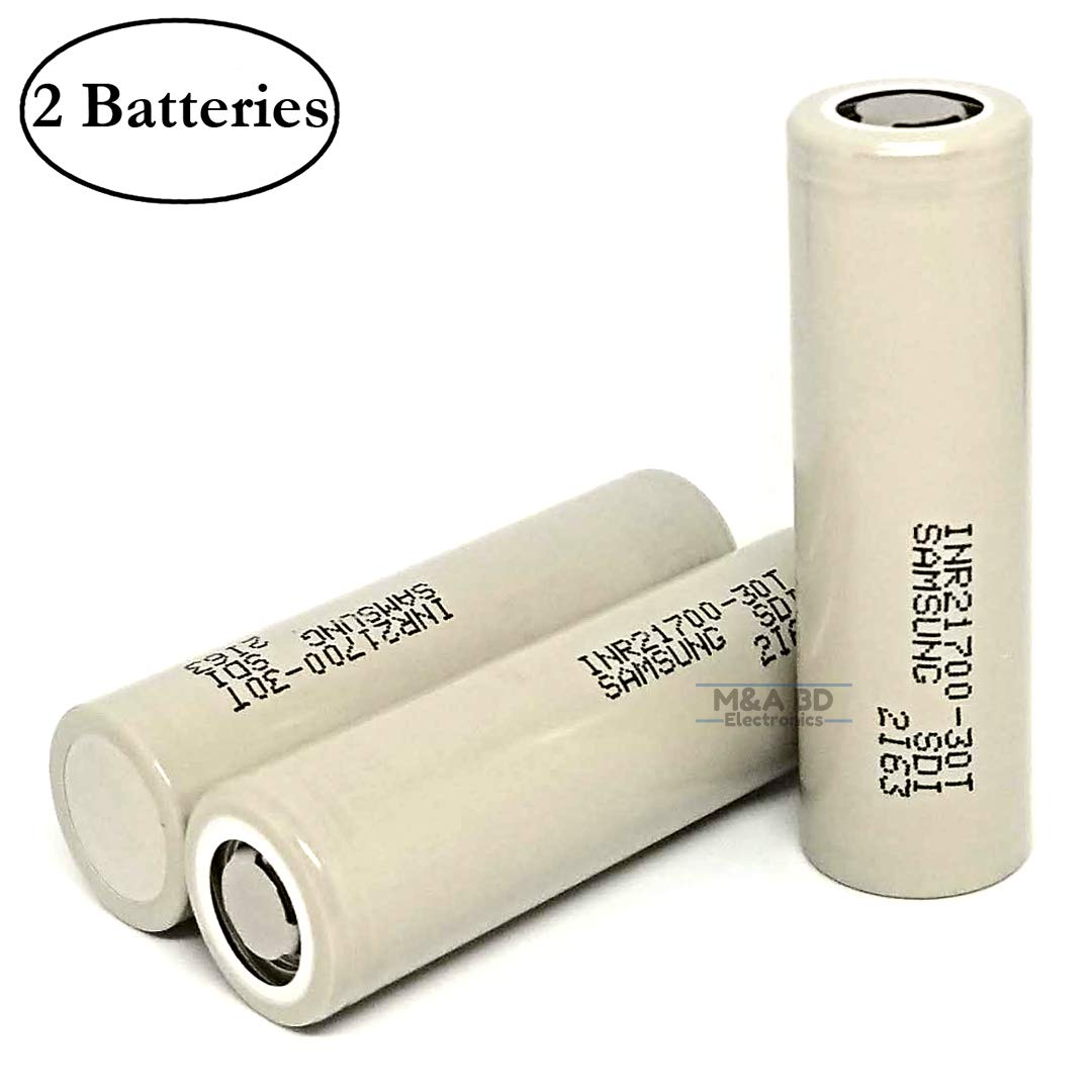 M&A BD Electronics INR21700 30T 3000mAh 35A 3.6V Rechargeable High Drain Flat Top Li-ion Battery (2-Pack) Replacement for Samsung 21700 Batteries by M&A BD Electronics (Image #1)