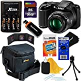 Nikon COOLPIX L340 20.2 MP Digital Camera with 28x Zoom NIKKOR Lens & Full HD 720p Video Recording - Black - International Version (No Warranty) + 4 AA Batteries with Charger + 8pc Bundle 16GB Accessory Kit w/ HeroFiber Ultra Gentle Cleaning Cloth