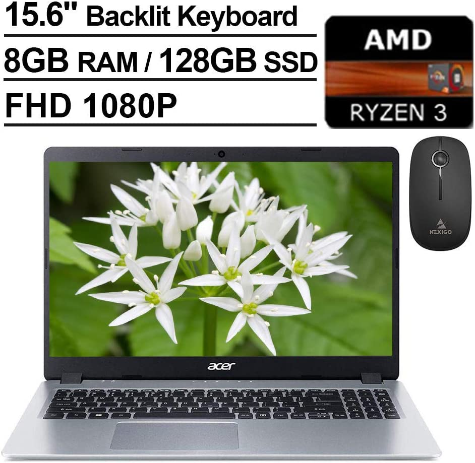 2020 Acer Aspire 5 15.6 Inch FHD 1080P Slim Laptop| AMD Ryzen 3 3200U up to 3.5 GHz| 8GB RAM| 128GB SSD| Backlit KB| WiFi| Bluetooth| HDMI| Windows 10 + NexiGo Wireless Mouse Bundle