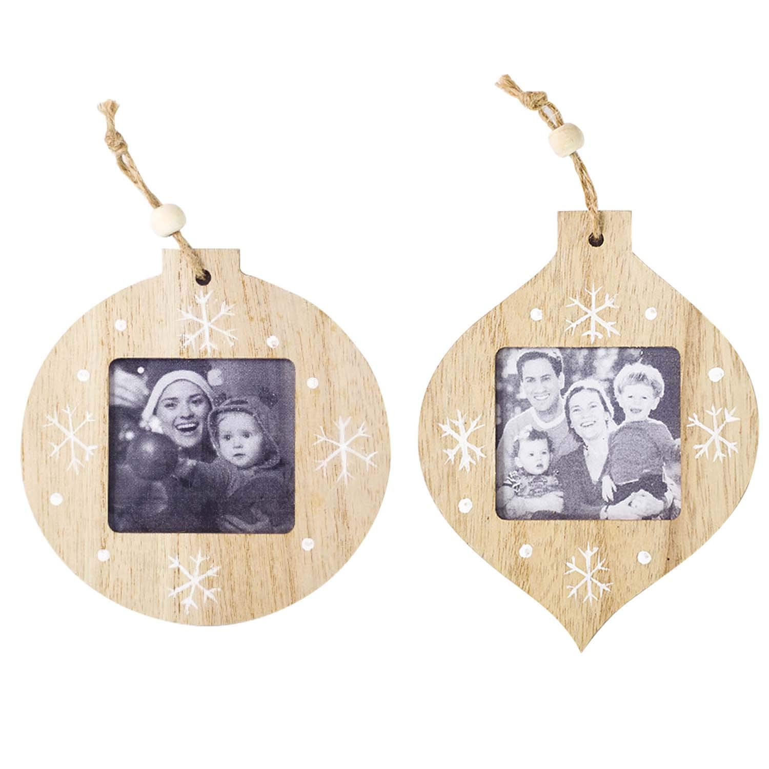 2pcs Christmas Wooden Photo Picture Frame Christmas Tree Hanging Pendants Ornaments Xmas Home Decorations Gosearca