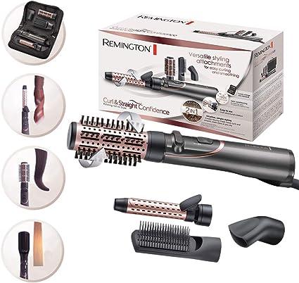 Remington AS8606 Brosse Soufflante Rotative, Brosse Plate, Sèche Cheveux et Fer à Boucler 4en1 Curl&Straight Confidence
