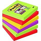 Post-it 654SM5+1Super Sticky Notes Notes autocollantes, 76x 76mm, 6blocs de 90feuilles, Collection Marrakesh : vert tilleul, rouge ultra, jaune, violet prune