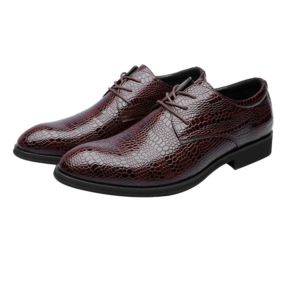 Ruiyue PU-Leder der Mauml;nner Beschuht Krokodil-Haut-Beschaffenheits-Obere Schnuuml;rung Breathable Geschauml;fts-gefuuml;tterte Oxfords  43 EU|Brown