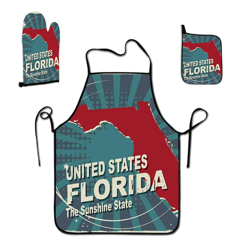 GULTMEE 3-Piece Apron Set Custom Cooking Waist Chef BBQ Adjustable Waterproof Aprons for Women Men Girls, Retro Style Sunburst Worn Out Backdrop with The City Map of Florida United States