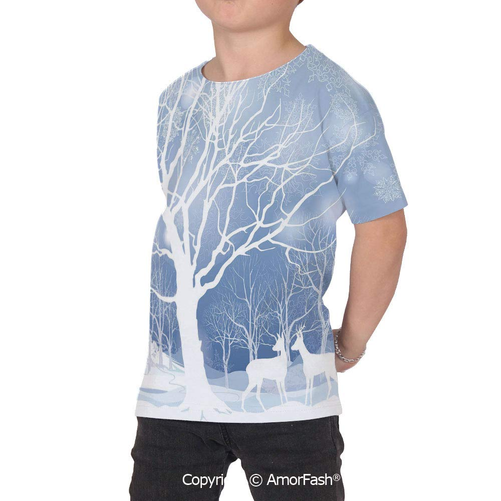 PUTIEN Winter Decor Childrens Short Sleeve Cool T-Shirt,Polyester,Abstract Winter Imag