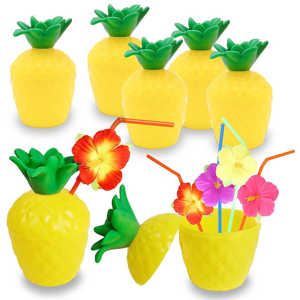 FuturePlusX Pineapple Cups, 12PCS Plastic Pineapple Cups with Lids and Straws for Luau Summer Hawaiian Party by FuturePlusX