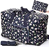 Foldable Travel Duffle Bag for Women Girls Large Cute Floral Weekender Overnight Carry On Bag for Kids Checked Luggage Bag (Flamingo)