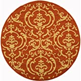Cheap Safavieh Courtyard Collection CY2663-3202 Terracotta and Natural Indoor/Outdoor Round Area Rug (5'3″ Diameter)