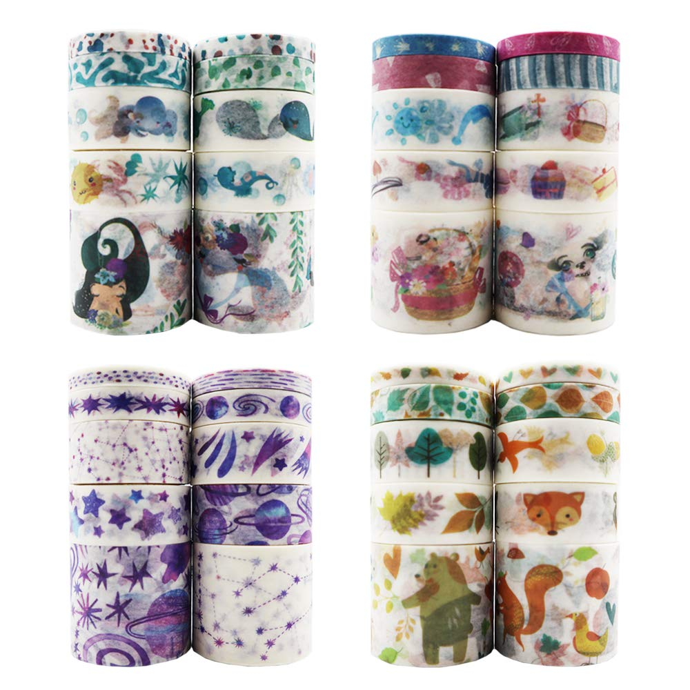 Amkizer Washi Tape Set 40 Rolls, Decorative Masking Tape, Colorful Washi Tapes for Bullet Journals, Planners, Gift Wrapping, DIY Scrapbook, Arts & Crafts