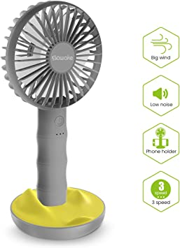 SAWAKE Hand Fan, Ventilador Portátil USB con Base, Mini Ventilador Recargable Bamboo Design Fan con 3 Velocidades Ajustables, Ventilador de Mano Adecuado para Oficina, Hogar, Viajes, etc.: Amazon.es: Electrónica