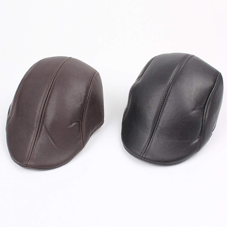 Color : Brown, Size : M DSLSM Special Design Hat Male Fall Winter Beret PU Cap Keep it Warm
