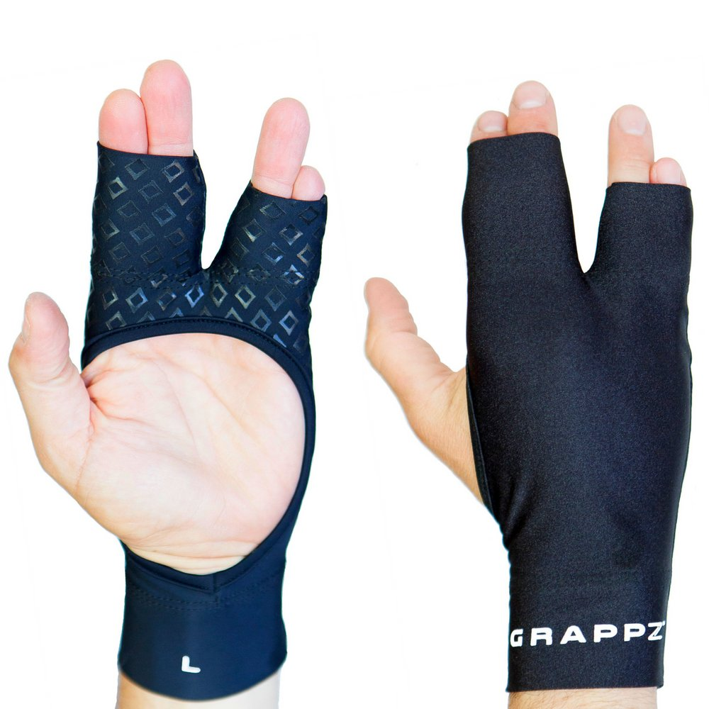 Finger Tape Alternative Compression Gloves Pair, Injury Jam Protection Splint & Grip Support for BJJ & Athletic Sports Black Unisex Extra Small by Grappz