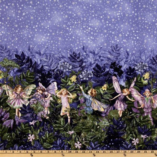 Michael Miller ER-107 Night Flower Fairies Double Border Stripe Nite Blue Fabric by the Yard
